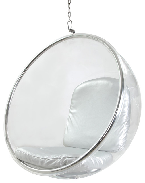 Bubble Chair Hanging Industrial Silver Cushion