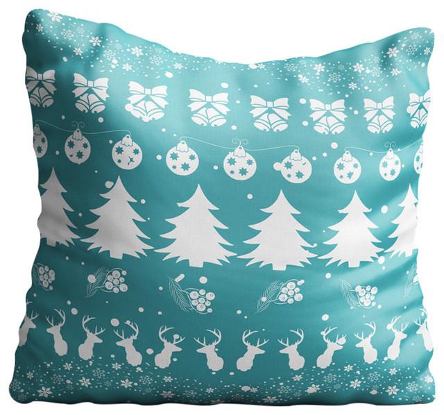 Christmas Pattern Blue Throw Pillow Case
