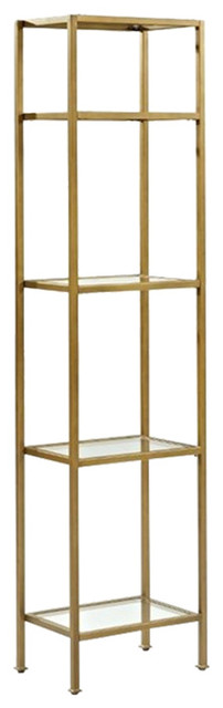 Pemberly Row Narrow Open Display Case in Gold