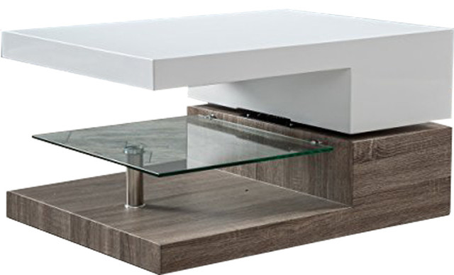 Modern Swivel Coffee Table.Rectangular Glass Mod Swivel Coffee Table