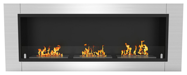 "Lenox 54"" Ventless Built, Recessed Bio Ethanol Wall Mounted Fireplace."
