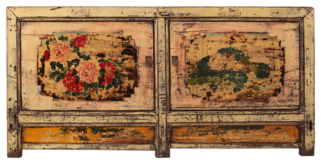 Chinese Gansu Style Pastel Yellow Pink Flower Console Cabinet Asian Console  Tables