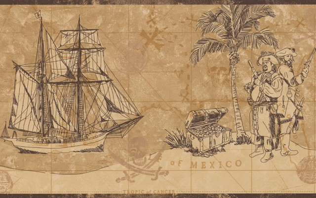 Vintage Pirate Map Chest Gold Frigate Sail Nautical Beige Brown Wallpaper Border