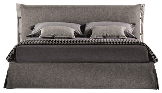 Gie Modern Storage Bed In Gray Fabric Queen Size