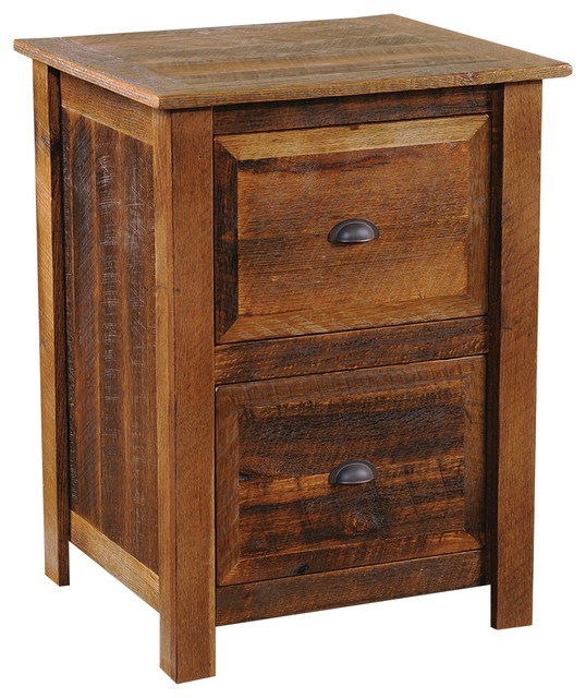 Fireside Lodge Furniture Company Barnwood Two Drawer File Cabinet, Hickory Legs, Traditional Oak ...