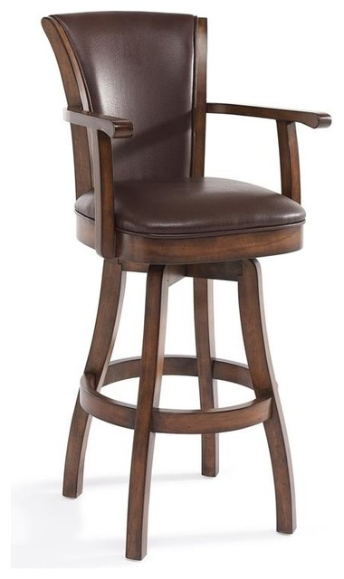 Astounding Raleigh Arm 26 Counter Height Swivel Wood Barstool Chestnut Kahlua Faux Leather Pabps2019 Chair Design Images Pabps2019Com