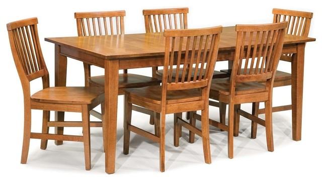 Arts And Crafts 7 Piece Rectangular Dining Set Cottage Oak Transitional