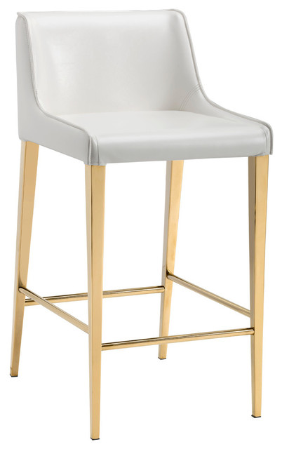 Lawrence Counter Stool, Yellow Gold, Almond by Sunpan Modern Home