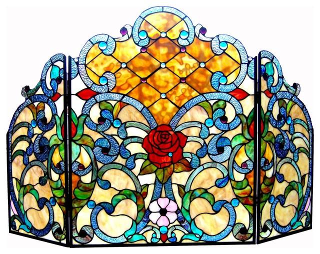 Chloe-Lighting Tiffany-Glass 3-Piece Folding Victorian Fireplace Screen.