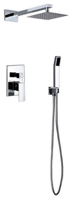 "Aqua Piazza by KubeBath Shower Set With 8"" Square Rain Shower and Handheld"