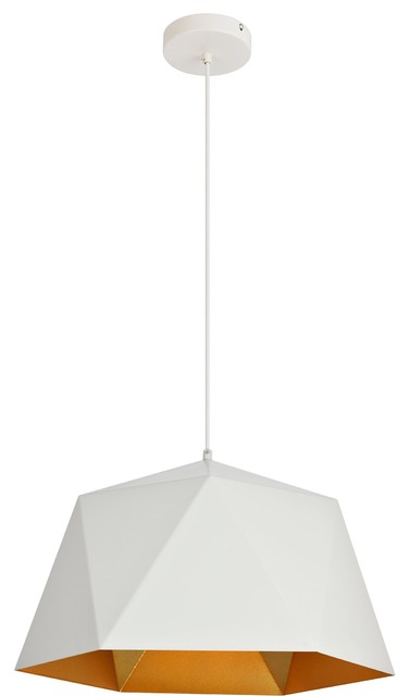 "Arden Pendant Light, 17.7"", Finish: White/gold."