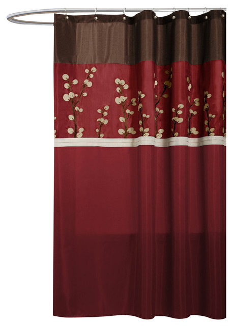 Brown And Red Shower Curtain