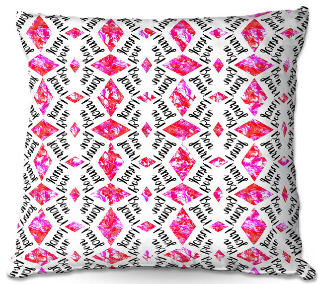 DiaNoche Outdoor Pillows By Zara Martina Bonjour Pattern Pink Contemporary Cushions