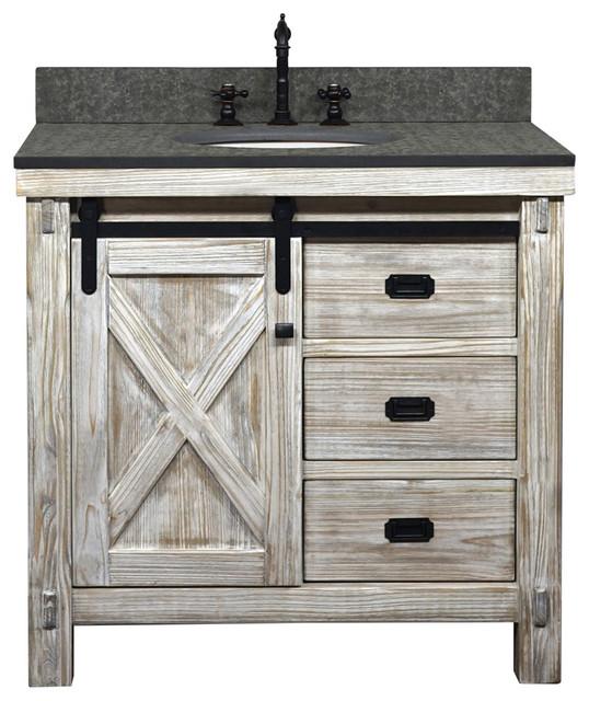 "37"" Rustic Solid Fir Barn Door Style Single Sink Vanity ..."