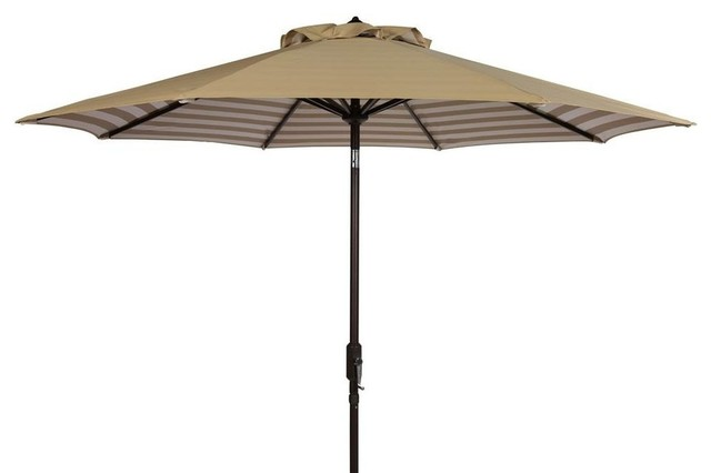 Athens 9 ft. Crank Outdoor Auto Tilt Umbrella in Beige and White