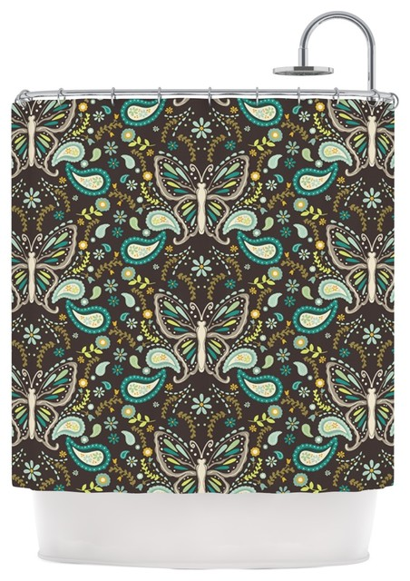 Suzie Tremel Butterfly Garden Brown Teal Shower Curtain