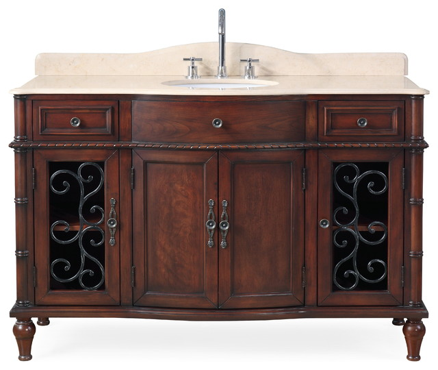 "low priced c92f1 3483a 53"" Willington Cherry Wood Bathroom Vanity"