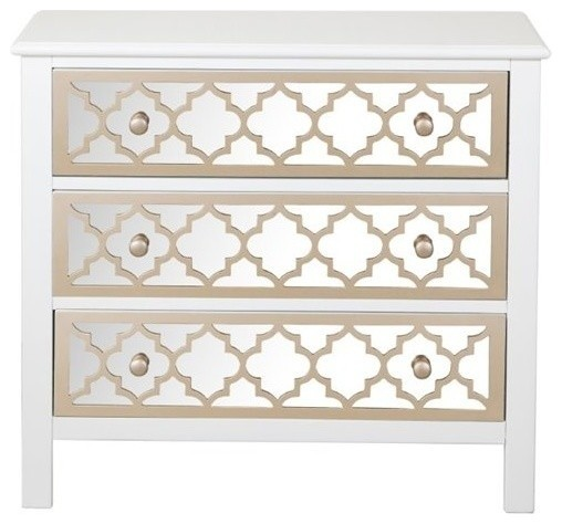 Beaumont Lane Mirrored 3-Drawer Accent Chest, White