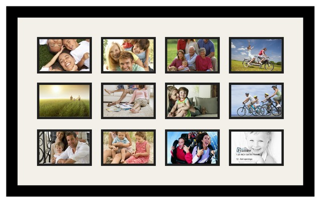 ArtToFrames Collage Photo Frame With 12 - 4x6 Openings and Satin Black Frame  contemporary-picture