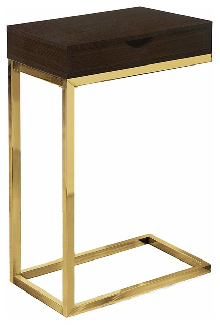 C Shaped End Table Gold Metal Frame