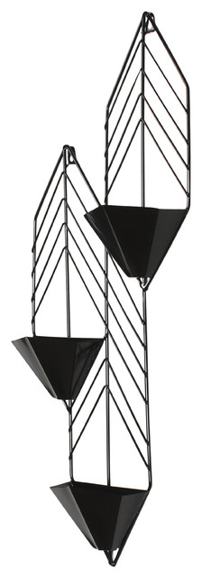 Tain Geometric Metal Wall Hanging Planter With 3 Pockets
