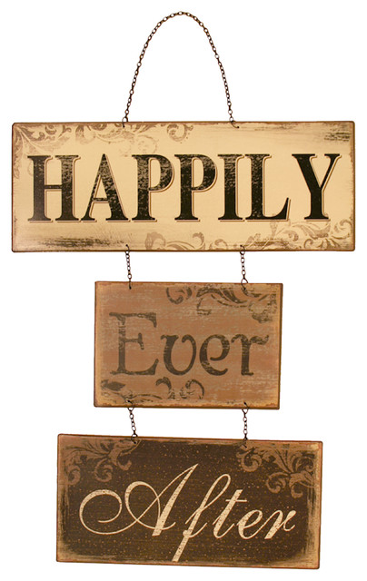 """""""happily Ever After"""" Hanging Metal Plaque."""