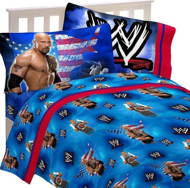 Wwe Wrestling Bed Sheet Set The Rock Wrestle Mania Bedding