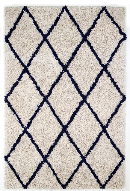 5 X8 Ivory Silky Shag Rug With Navy Diamond