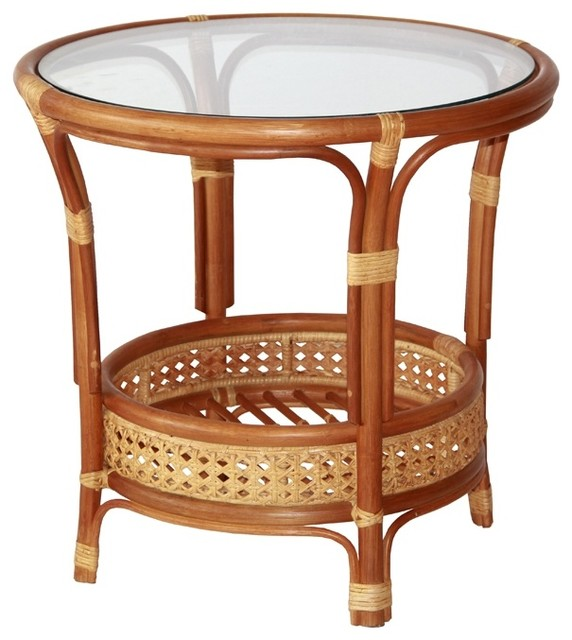 Pelangi Round Rattan Wicker Coffee Table With Gl Colonial