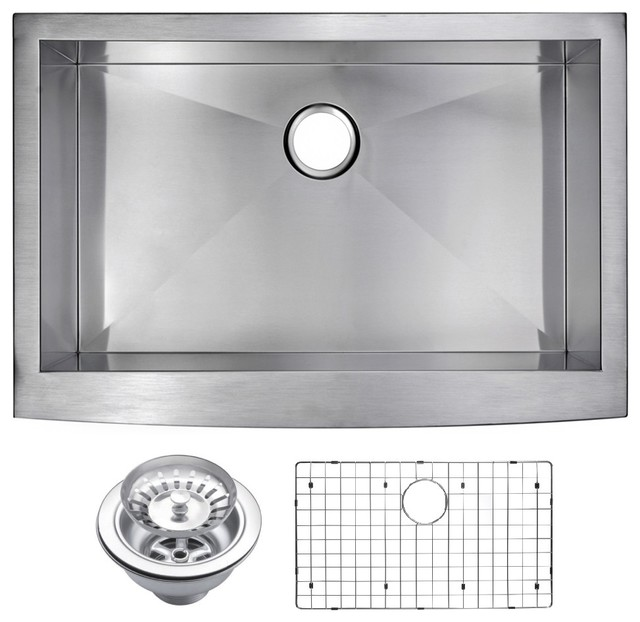 Zero Radius Single Bowl Apron Front Sink With Drain, Strainer, And Bottom Grid.