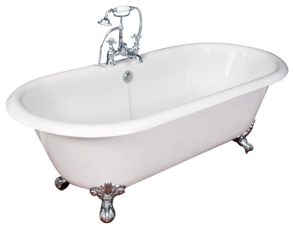 67 cast iron double ended clawfoot tub victorian for Claw foot soaker tub