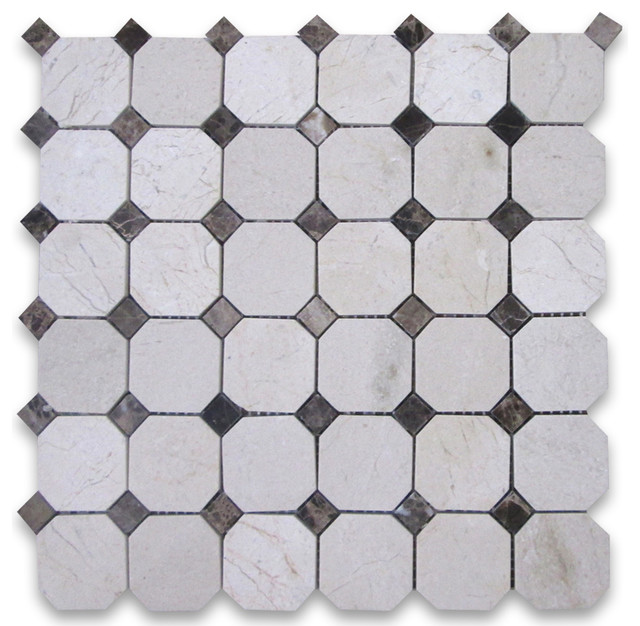 stone center online crema marfil octagon mosaic tile emperador dark dots 2 inch polished wall. Black Bedroom Furniture Sets. Home Design Ideas