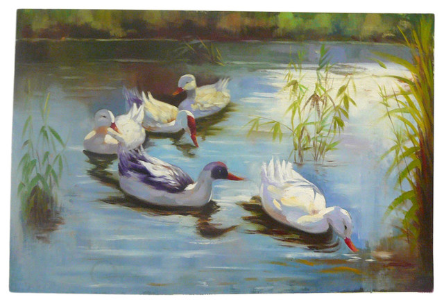 Oil Paint Canvas Art Ducks Wall Decor