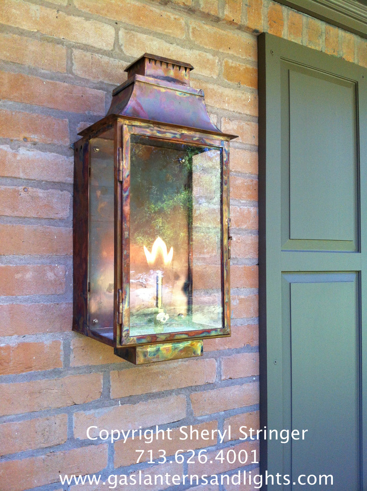Sheryl's Transitional Natural Gas Flush Mount Lantern, Natural Copper Finish