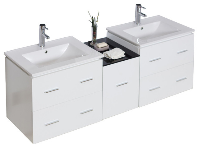 "Modern Wall Mount Plywood-Veneer Vanity Base Only, White, 60""x17""."