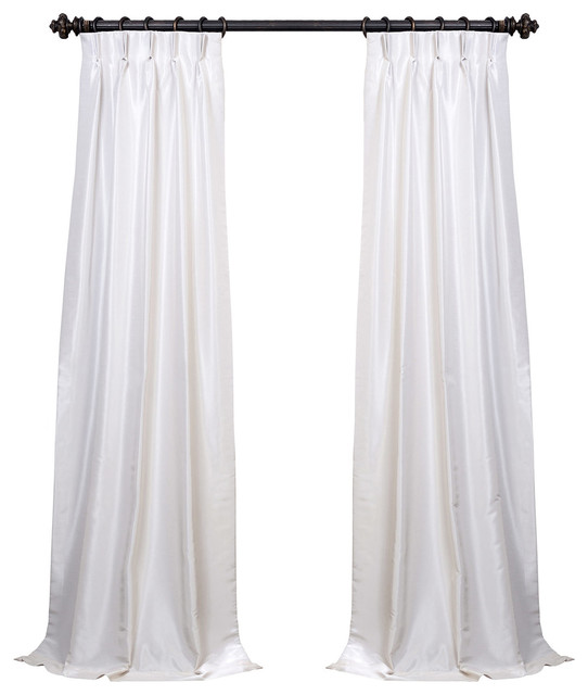 "Off White Blackout Textured Fauxdupioni Pleated Curtain Single Panel, 25""x96""."