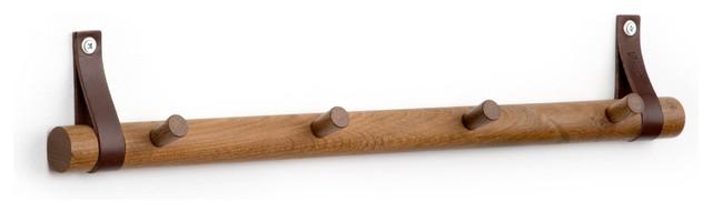 Oak Coat Rack, Smoky, 4 Hooks
