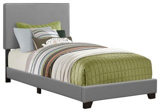 Bed, Twin Size/Grey Leather, Look