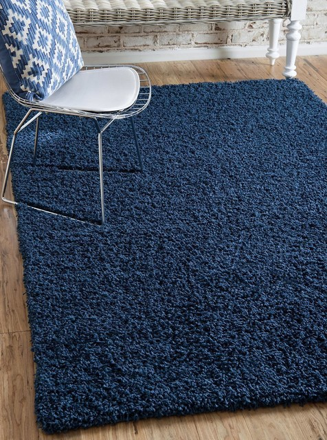 4&x27;x6&x27;solid Shag Navy Blue Area Rug.