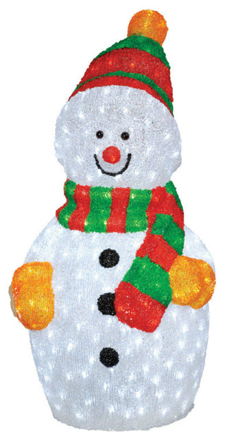 "Decoris LED Acrylic Snowman, 450 Lights, 35"" - Contemporary - Outdoor Holiday Decorations - by Life and Home"