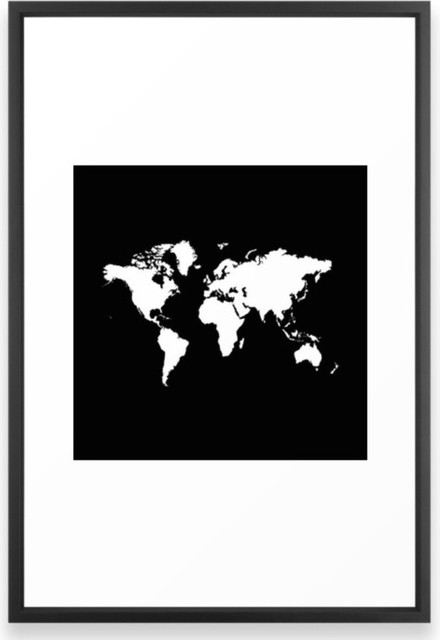 Black White World Map Framed Print Contemporary Prints And