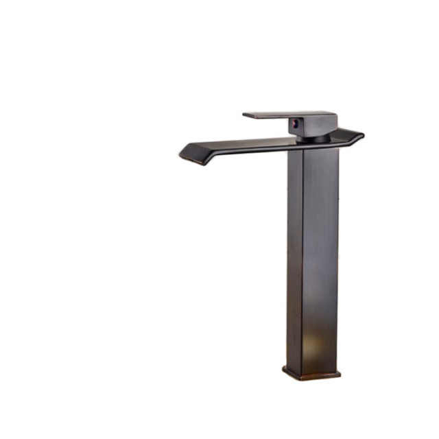 Square Tall Single Handle Waterfall Bathroom Sink Faucet Dark Oil Rubbed  Bronze Contemporary Bathroom
