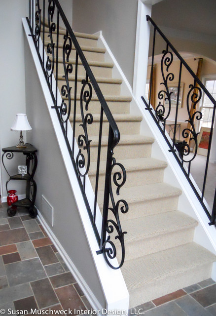 Wrought Iron Railing Entryway Traditional Staircase
