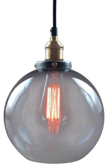Modern Copper Ring Led Pendant Lighting 10758 Shipping: LightingWorld Smoke Glass, Copper Socket, Globe Ceiling