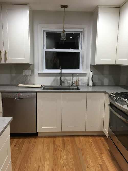 Gray Ikea Kitchen Cabinets with White Beveled Subway Tile Backsplash