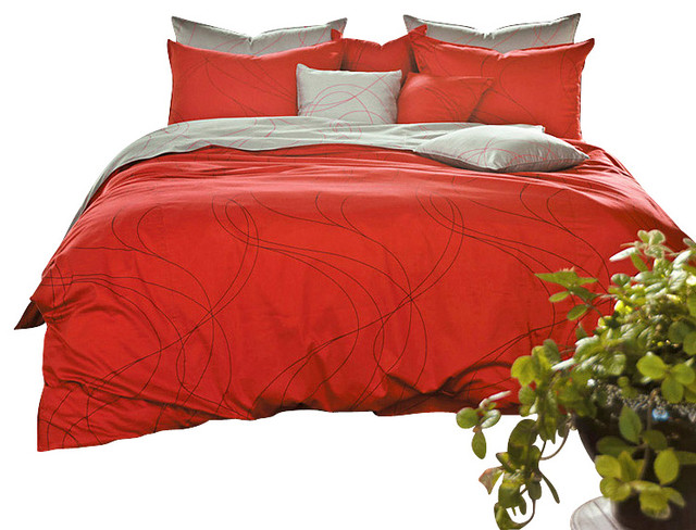 Modern Red And Gray Duvet Cover Set Queen