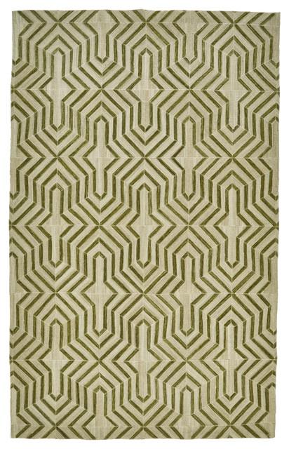 Bromham Rug, Green, 8&x27;x10&x27;.