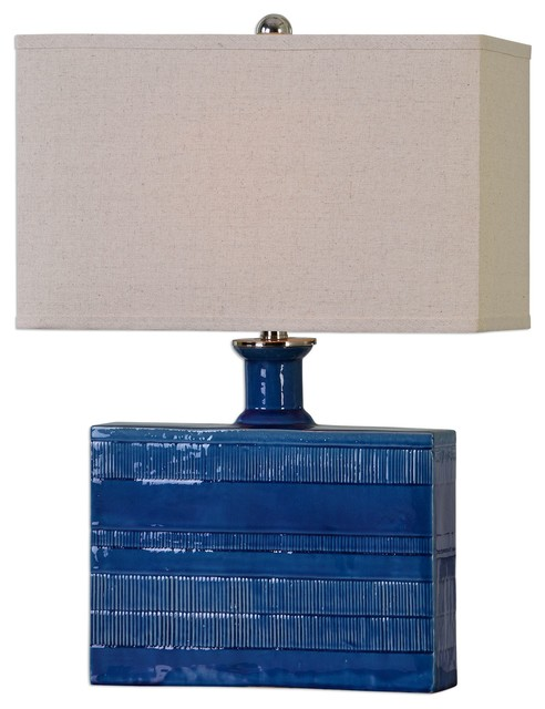 Textured Square Navy Blue Ceramic Table Lamp, Rectangular Cottage Distressed.