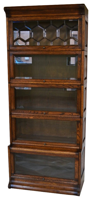 arts and crafts mission oak 5 stack barrister bookcase with leaded glass