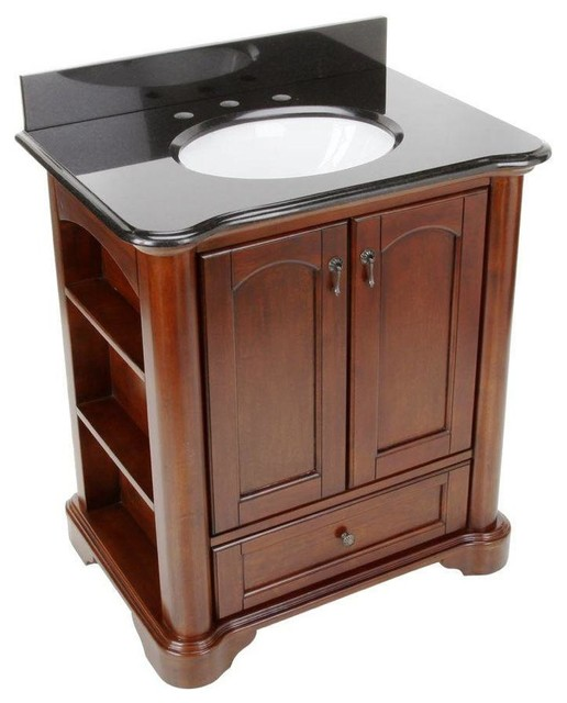 Vermont Birch Vanity With Granite Vanity Top With White Basin Mahogany 30 Traditional